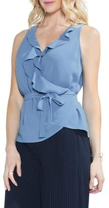Vince Camuto Wrap Front Ruffle Neck Blouse