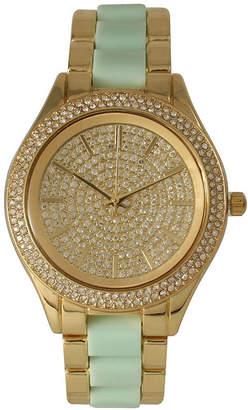 OLIVIA PRATT Olivia Pratt Womens Rhinestone Bezel Rhinestone Dial Gold Mint Two Tone Bracelet Watch 15295