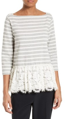 Women's Kate Spade New York Stripe & Lace Flounce Top $148 thestylecure.com