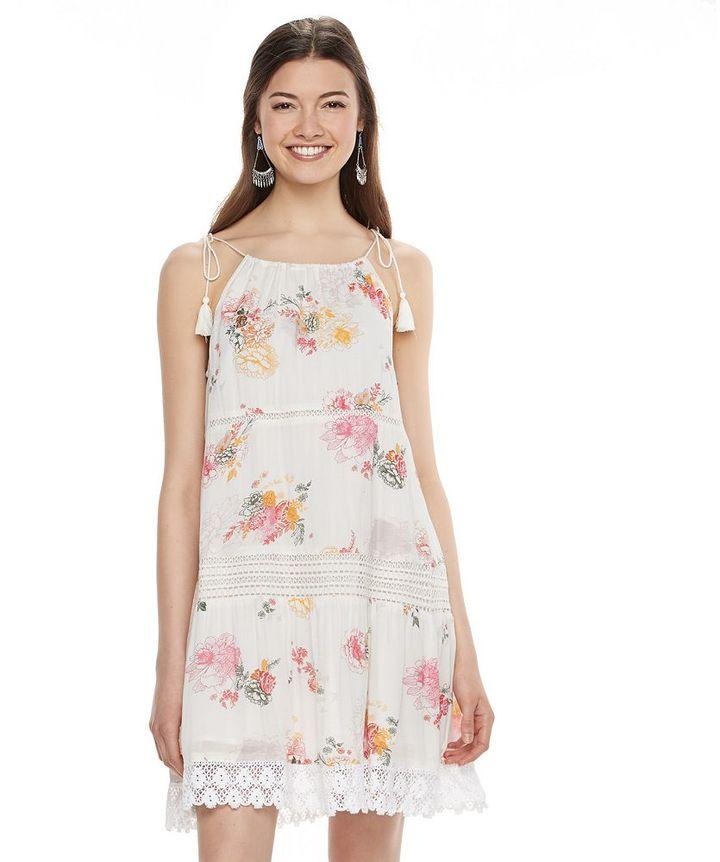Mudd Juniors Floral Crochet Tiered Dress Shopstyle