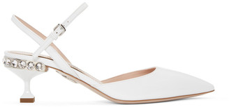Miu Miu White Patent Slingback Heels