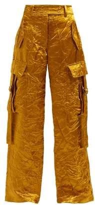Sies Marjan Sammie Wide Leg Crinkled Satin Cargo Trousers - Womens - Gold
