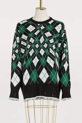 MSGM Plaid merino sweater