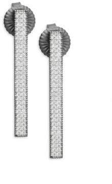 Freida Rothman Pavé Crystal & Sterling Silver Bar Earrings