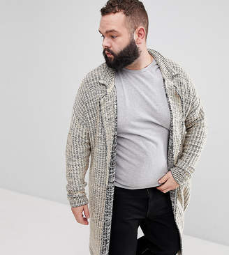 Asos DESIGN Plus Knitted Duster Jacket In Oatmeal Slub