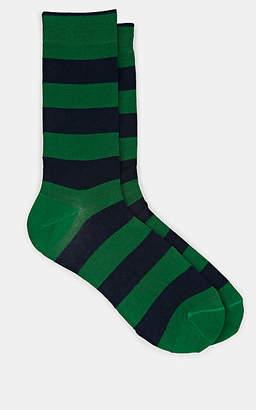 Barneys New York Men's Striped Cotton-Blend Mid-Calf Socks - Green