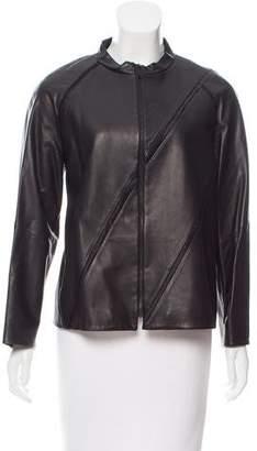 Lafayette 148 Striped Leather Jacket