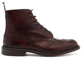 Tricker's Stow Leather Brogue Boots - Mens - Burgundy