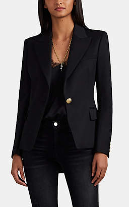 Balmain Women's Classic Virgin Wool Gabardine One-Button Blazer - Black