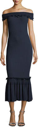 Jonathan Simkhai Off-the-Shoulder Ribbed Midi Dress w/ Ruffled Trim