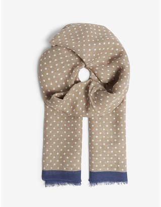 OSCAR JACOBSON Spotted print linen-blend scarf