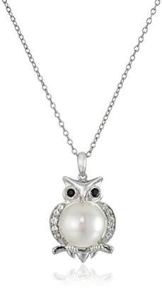 Sterling Silver Cultured Pearl and Lab Sapphire Owl Pendant Necklace