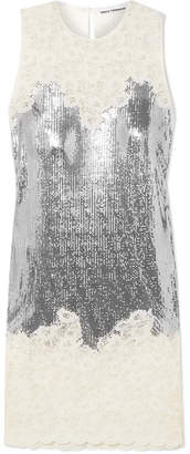 Paco Rabanne Chainmail And Corded Lace Dress - Silver