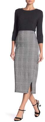 14th & Union Seamed Houndstooth Pencil Skirt