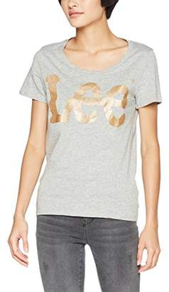 Lee Women's Glitter Logo T T-Shirt, (Grey Mele Hc37)