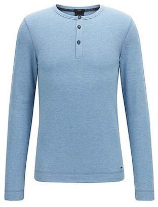 HUGO BOSS Slim-fit Henley T-shirt in heather waffle cotton