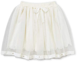 Mae Li Rose (Girls 4-6x) Ivory Velvet & Mesh Skirt