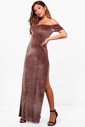 boohoo Charley Velvet Thigh Split Maxi Dress