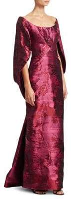 Zac Posen Silk Satin Jacquard Cape Dress