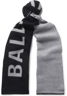 Balenciaga Logo-Jacquard Wool Scarf - Men - Black