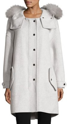 Burberry Meldonbridge Wool Coat with Fur-Trim Hood $3,195 thestylecure.com