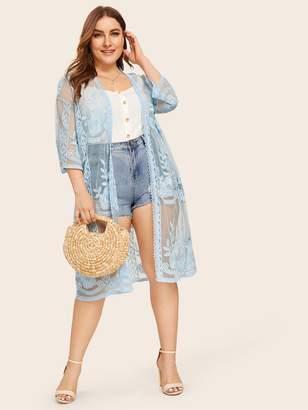 Shein Plus Drop Shoulder Embroidered Mesh Kimono