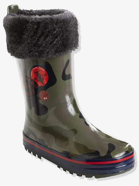 Boys' Camouflage Wellies - green medium all over printed