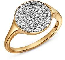 Adina 14K Yellow Gold Pavé Diamond Extra Large Disc Signet Ring