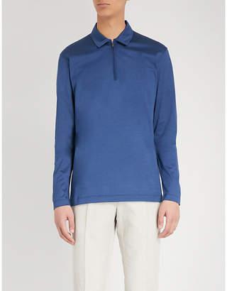 Canali Zip-up mercerised cotton polo shirt