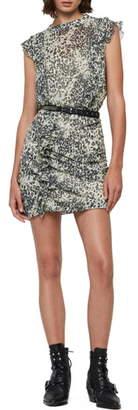 AllSaints Hali Patch Leopard Print Open Back Minidress