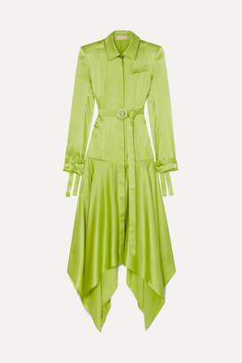 MATÉRIEL Belted Asymmetric Silk-satin Shirt Dress - Lime green
