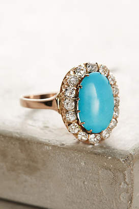 Fox & Bond One-Of-A-Kind Vintage Turquoise Diamond Cluster Ring