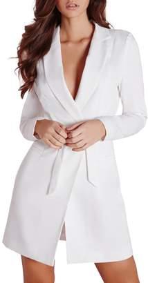 Richlulu Womens Chic Business D Ring Belt Side Pocket Wrap Blazer Dress(XXL,)