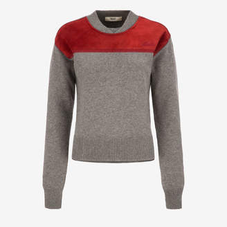 Bally Suede Detail Jumper Grey, Women's wool knit jumper in grey melange