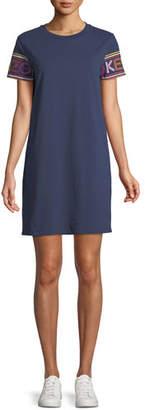 Kenzo Crewneck Logo-Sleeve Mini Shirtdress