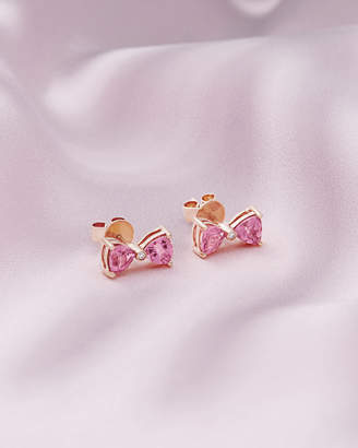 Ted Baker IVAE 9ct rose gold and pink tourmaline bow earrings
