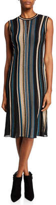 M Missoni Intarsia Striped Crewneck Sleeveless Midi Dress