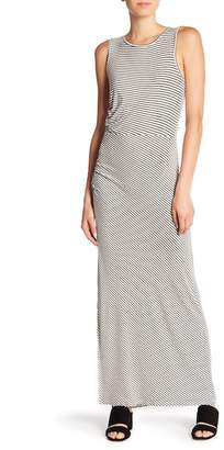 Bobeau Side Ruched Stripe Maxi Dress