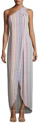 BCBGMAXAZRIA Women's Dries Printed One-Shoulder Gown