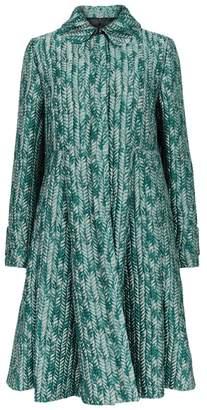 Emporio Armani Tonal Green Jacquard Coat