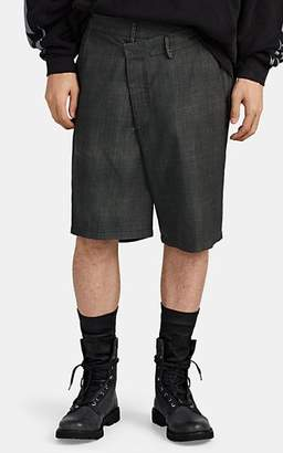 R 13 Men's Crossover Plaid Wool Shorts - Gray