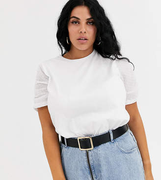 Asos DESIGN Curve t-shirt with dobby ruched sleeve