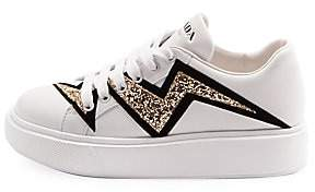 Prada Women's Platform Low-Top Glitter Leather Sneakers