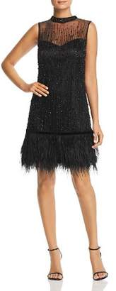 Elie Tahari Mirage Beaded Feather-Hem Dress