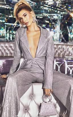 PrettyLittleThing Silver Tie Waist Jacket
