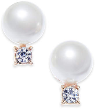 Charter Club Gold-Tone Imitation Pearl and Crystal Stud Earrings