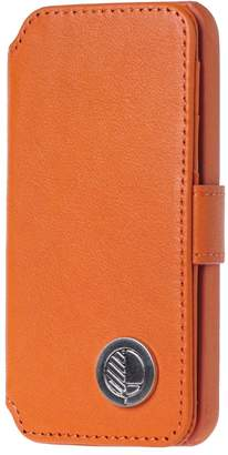 Drew Lennox - iPhone SE 5 5S Luxury English Leather Phone Wallet with 3 Card Slots in Monarch Orange
