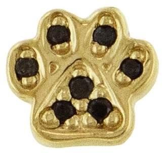 Sydney Evan Mini Black Diamond Paw Single Earring - Yellow Gold