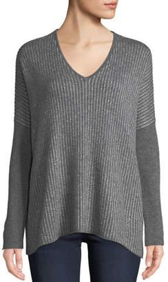 Neiman Marcus Cashmere Metallic-Stripe Dolman Sweater