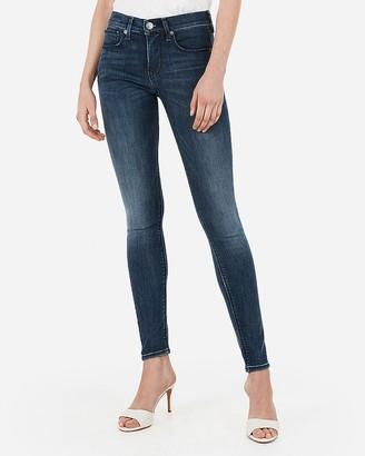 Express Mid Rise Denim Perfect Medium Wash Jean Leggings